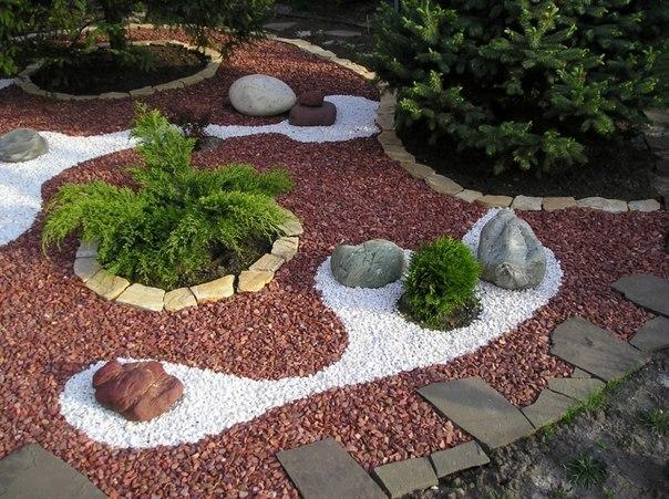 Гравийный сад – очень простой и недорогой вариант альпийской горки